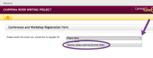 Screenshot of Registration Form for Remote Literacy Learning